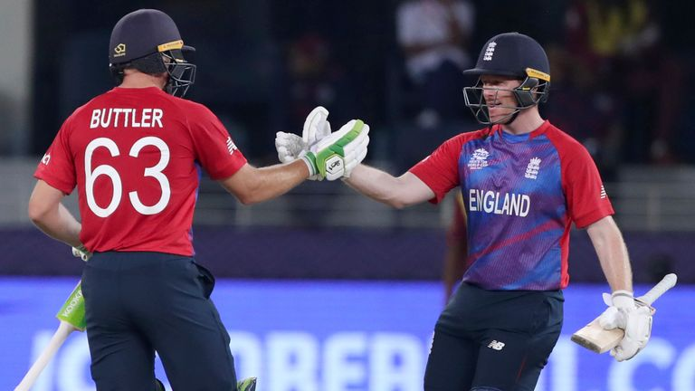 England captain Eoin Morgan shakes hands with Jos Buttler after wrapping up the emphatic win over West Indies